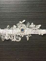 Подвязка Стреч-сатин Кружева Цветок Стразы Белый