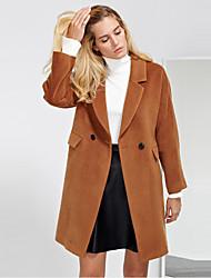 c + impressionar trabalho coatsolid simples das mulheres tiveram seu pico de lapela manga longa inverno marrom lã de médio / rayon