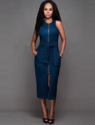 Moulante / Denim Robe Sexy / Chic de Rue,Couleur Pleine Col Arrondi Midi Sans Manches Bleu Polyester Eté Taille Normale Micro-élastique