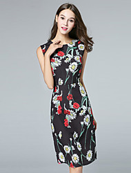 BURDULLY  Going out Chinoiserie Sheath DressFloral Round Neck Above Knee Sleeveless Blue