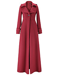 Women's Casual/Daily / Formal Vintage Coat,Solid V Neck Long Sleeve Fall / Winter Polyester Medium