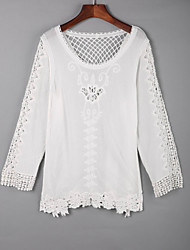 Women's Casual/Daily Simple Fall BlouseSolid Square Neck Long Sleeve White Cotton Medium