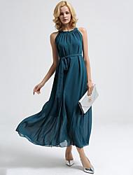 Women's Beach Boho Chiffon DressSolid Halter Maxi Sleeveless Green Polyester Summer Mid Rise Inelastic Thin