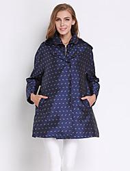 meio azul de algodão kenaya mulheres casual / diária simples trincheira coatprint com capuz manga comprida outono / inverno