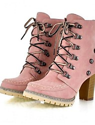Women's Boots Combat Boots PU Spring Fall Winter Outdoor Rivet Lace-up Chunky Heel Yellow Blue Blushing Pink 2in-2 3/4in