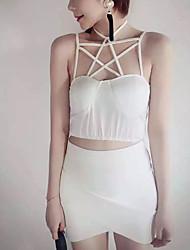 Mulheres Malha Íntima Casual Sensual Verão,Sólido Branco / Preto Algodão Com Alças Sem Manga Média
