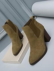 Damen-Stiefel-Lässig-Wildleder-BlockabsatzSchwarz Khaki Mandelfarben