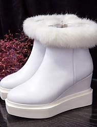 Damen-Stiefel-Lässig-Leder-Keilabsatz-Modische Stiefel-Schwarz / Weiß