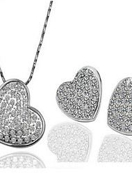 May Polly Love is full of diamond earrings heart-shaped Necklace Set