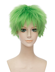 Cheap Afro Short Curly Wig Natural Green Color Synthetic Cosplay African American Wig