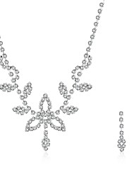 2016 Noble Luxury Clover Wedding Bridal Silver Zircon Necklace Earrings Party Jewelry Set