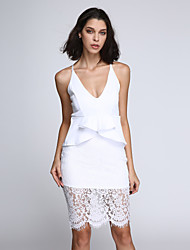 Women's Crossover Straps Floral Lace Overlay Peplum Dress