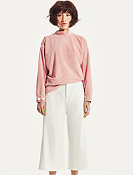 liangsanshi Frauen Casual / Tages einfacher Sturz T-Shirt, feste Rollkragen Langarm-rosa Polyester Medium
