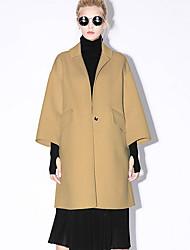 новый, прежде чем женщин формальной простой coatsolid Нотч с длинным рукавом весна / осень коричневый / фиолетовый шерсть непрозрачна