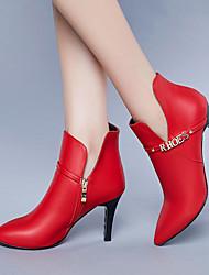 Для женщин Ботинки Босоножки Полиуретан Лето Повседневные Для прогулок Босоножки На шпильке Черный Красный 7 - 9,5 см