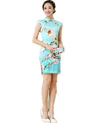 One-Piece Short Sleeve Medium Length Cyan Lolita Dress Polyester