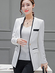 Women's Casual/Daily / Work Cute Spring / Fall Blazer,Color Block Deep V Long Sleeve White Polyester Medium
