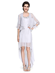 2017 Lanting Bride® Sheath / Column Mother of the Bride Dress - Elegant Asymmetrical Half Sleeve Chiffon with Sequins