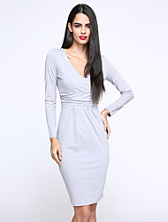 Women's OL V Neck Solid Slim Dress , Knee-length Long Sleeve