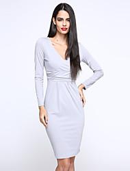 Robe Aux femmes Travail / Décontracté , Couleur Pleine Col en V Mi-long Polyester / Spandex