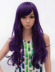 Fashion Long Curly Wig Purple Color Synthetic African American Women Wigs