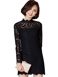 Spring Fall Women's Go out Casual Fashion Wild Lace Solid Color Patchwork Long Sleeve Slim Dress