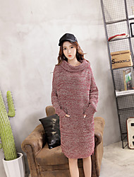 Women's Casual/Daily Cute Sweater DressSolid Round Neck Above Knee Long