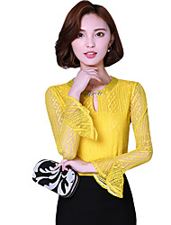 Spring Fall Go out Casual Women's Tops Fashion Wild Round Neck Long Sleeve Lace Blouse Shirt