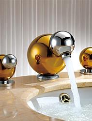 Arte Decorativa/Retro Muy Difundido amplia de spray with  Válvula Cerámica Dos asas de tres agujeros for  Ti-PVD , Grifo de bañera / Baño