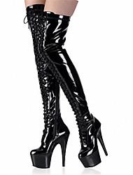 Feminino-Botas-Plataforma Sapatos clube Botas da Moda-Salto Agulha Plataforma-Preto Vermelho-Couro Envernizado-Social Casual Festas &