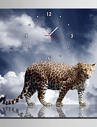 E-HOME® Flower Leopard Water Reflection Clock in Canvas 1pcs