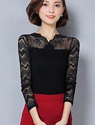 Damen Solide Anspruchsvoll Party/Cocktail Bluse,V-Ausschnitt Herbst Langarm Weiß / Schwarz / Grau Polyester Undurchsichtig