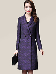 Women's Plus Size Street chic CoatSolid Peaked Lapel Long Sleeve Fall / Winter Purple Polyester Medium
