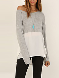 Women's Going out / Work Simple / Street chic All Seasons BlousePatchwork Round Neck Long Sleeve Gray