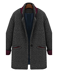 Women's Casual/Daily Street chic Coat,Patchwork Notch Lapel Long
