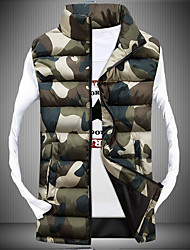 Men's Regular Padded Vest Coat,Polyester Camouflage Sleeveless k258