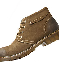 Men's Sneakers Fall / Winter Round Toe Cowhide Casual Flat Heel Lace-up Coffee / Khaki Others