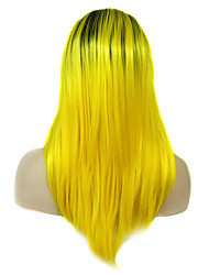 IMSTYLE 22Cosplay Forsythia Yellow Dark Root Synthetic Machine Wig No Lace Wig