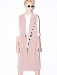 nouvelle avant le travail des femmes simple ressort / descente blazersolid cran revers sans manches rose / noir / gris
