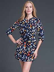 Boutique S Going out Cute Sheath DressFloral Round Neck Above Knee  Length Sleeve Blue Silk