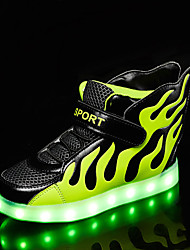 Boys' Sneakers Summer Fall Light Up Shoes Comfort Novelty PU Outdoor Athletic Casual Flat Heel LED Hook & Loop Lace-up Red Black White