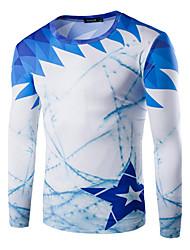 Herren T-shirt-Druck Freizeit / Sport Baumwolle Lang-Blau / Grau