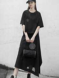 rizhuo Frauen solid black skirtssimple asymmetrische