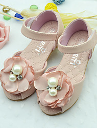 Girls' Sandals Summer PU Casual Flat Heel Flower Beige Blushing Pink