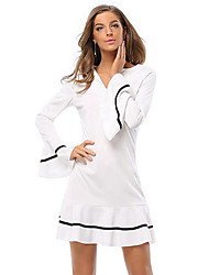 Women's Party/Cocktail Cute Trumpet/Mermaid DressStriped Knee-length Long Sleeve White Polyester Spring / Fall Mid Rise