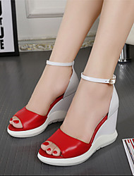 Women's Sandals Summer Platform Leather Casual Wedge Heel Others Black Red Others