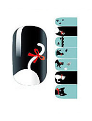 Fashion Love Black/White Cat Nail Decal Art Sticker Gel Polish Manicure Beautiful Girl