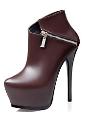 Mujer-Tacón Stiletto-Zapatos del club Light Up Zapatos-Tacones-Informal-Semicuero-Negro Azul Marrón Gris