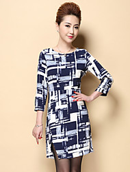 Boutique S Women's Plus Size / Work Simple Sheath DressGeometric Crew Neck Above Knee  Sleeve Black Polyester