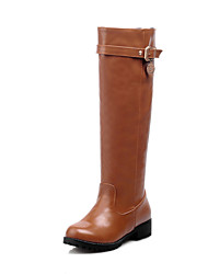 Women's  Riding Boots / Fashion Boots / Round Toe Leatherette Office & Career / Dress / Casual Low Heel Buckle